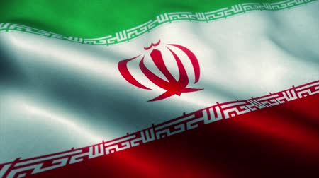 эмблема : Iran flag waving in the wind. National flag of Iran. Sign of Iran seamless loop animation. 4K