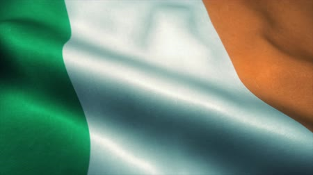 bretanha : Ireland flag waving in the wind. National flag of Ireland. Sign of Ireland seamless loop animation. 4K Vídeos