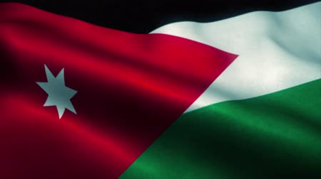 official : Jordan flag waving in the wind. National flag of Jordan. Sign of Jordan seamless loop animation. 4K Stock Footage