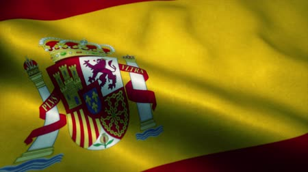 official : Spain flag waving in the wind. National flag of Spain. Sign of Spain seamless loop animation. 4K Stock Footage