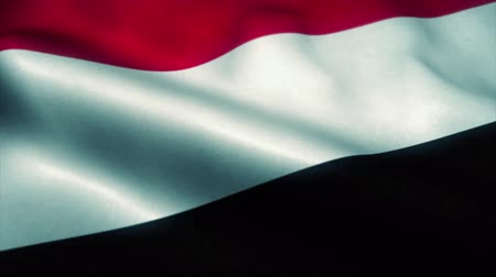 yemen : Yemen flag waving in the wind. National flag of Yemen. Sign of Yemen seamless loop animation. 4K