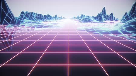 brochura : Loop Retro futuristic background footage 1980s style. Digital landscape in a cyber world Stock Footage