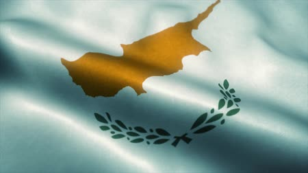 official : Cyprus flag waving in the wind. National flag of Cyprus. Sign of Cyprus seamless loop animation. 4K Stock Footage