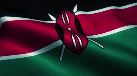эмблема : Kenya flag waving in the wind. National flag of Kenya. Sign of Kenya seamless loop animation. 4K