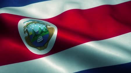 wapperende vlag : Costa Rica flag waving in the wind. National flag of Costa Rica. Sign of Costa Rica seamless loop animation. 4K Stockvideo