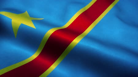 эмблема : Democratic Republic of the Congo flag waving in the wind. National flag of Congo. Sign of Congo seamless loop animation. 4K