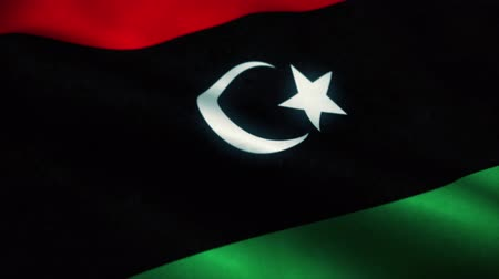 знак : Libya flag waving in the wind. National flag of Libya. Sign of Libya seamless loop animation. 4K Стоковые видеозаписи