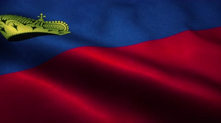 official : Liechtenstein flag waving in the wind. National flag of Liechtenstein. Sign of Liechtenstein seamless loop animation. 4K Stock Footage