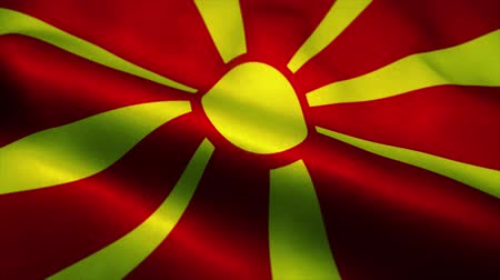 all european flags : Macedonia flag waving in the wind. National flag of Macedonia. Sign of Macedonia seamless loop animation. 4K