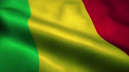 official : Mali flag waving in the wind. National flag of Mali. Sign of Mali seamless loop animation. 4K