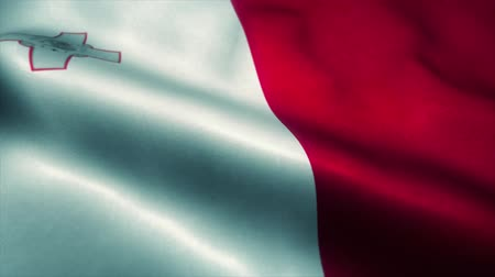 takımadalar : Malta flag waving in the wind. National flag of Malta. Sign of Malta seamless loop animation. 4K