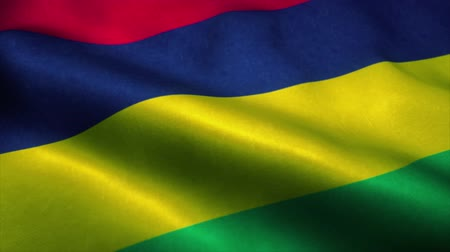 official : Mauritius flag waving in the wind. National flag of Mauritius. Sign of Mauritius seamless loop animation. 4K Stock Footage