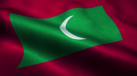 official : Maldives flag waving in the wind. National flag of Maldives. Sign of Maldives seamless loop animation. 4K