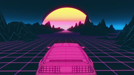 ポリゴン : Retro futuristic 80s style Sci-Fi car background. Seamless loop 3d video animation