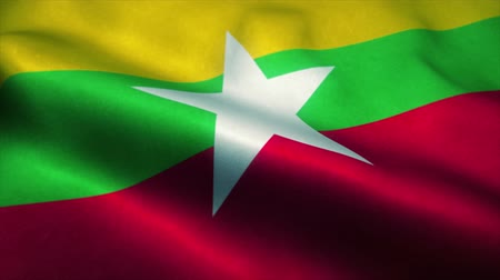 mianmar : Myanmar flag waving in the wind. National flag of Myanmar. Sign of Myanmar seamless loop animation. 4K