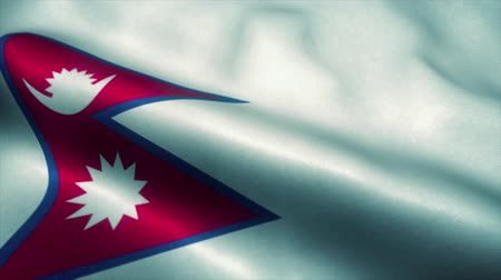 nepal : Nepal flag waving in the wind. National flag of Nepal. Sign of Nepal seamless loop animation. 4K Stock Footage