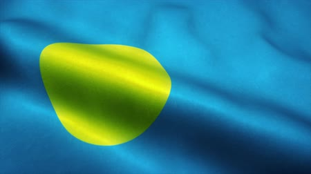 official : Palau flag waving in the wind. National flag of Palau. Sign of Palau seamless loop animation. 4K Stock Footage