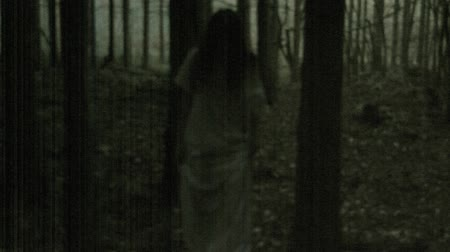 испуг : Scary woman in the dark spooky fores Стоковые видеозаписи