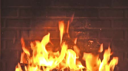 şenlik ateşi : Fire in fireplace - Hot embers burning with orange flame Stok Video