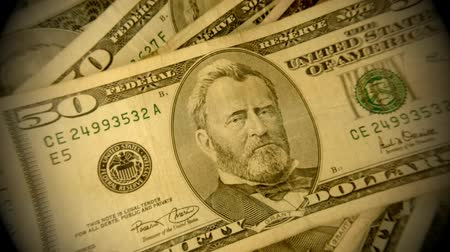 banknoty : American currency fifty dollar bills - Finance and banking concept Wideo