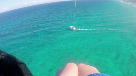 jamajka : Aerial view parasailing over ocean Montego Bay, Jamaica Wideo