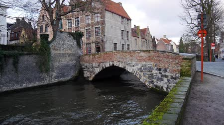 belga : Cityscape with old bridge and typical Flemish houses. Bruges, Belgium. Stock Footage