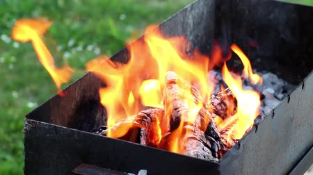 Burning wood in fire on grill place