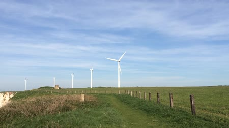 normandie : Wind turbines on the coast in Fecamp France