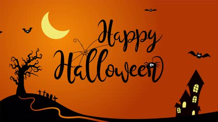 abridor : Happy Halloween animated text in a cartoon style background with bats, tree, house and spider.