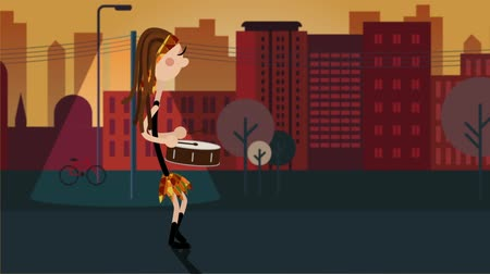 yüksek sesle : Animated walking character of a female drums performacing drumming in the streets Stok Video