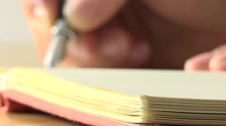 livros : Closeup of woman with pen in a notebook
