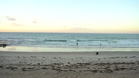 extreme wide shot during sunrise filmed at Australia, Queensland, Sunshine Coast, Caloundra, Kings Beach