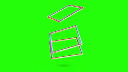 sobreposição : Abstract 3d render geometric background. rectangular frames overlap each other color gradient