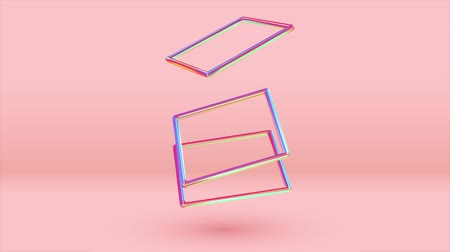 obdélníkový : Abstract 3d render geometric background. rectangular frames overlap each other color gradient