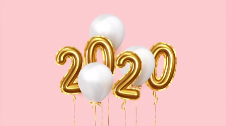 Happy New Year 2020 numbers golden air balloons. White balloons on ribbon. Festive objects Стоковые видеозаписи
