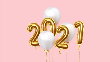 szenteste : Happy New Year 2021 golden balloons. White balloons on ribbon. Festive objects