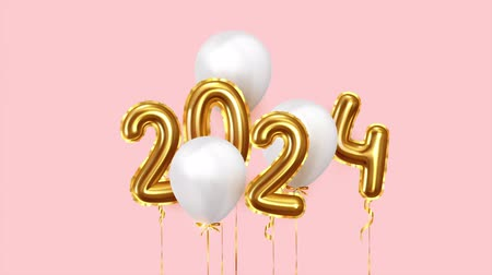 szenteste : Baloon air numbers. 2024 Happy New Year golden balloons. White ballons on ribbon. Festive objects Stock mozgókép