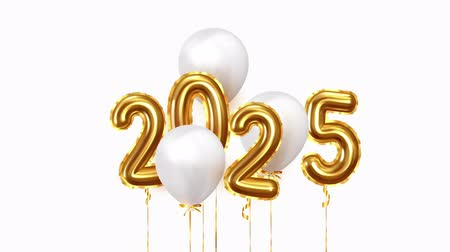 Baloon air numbers. 2025 Happy New Year golden balloons. White ballons on ribbon. Festive objects