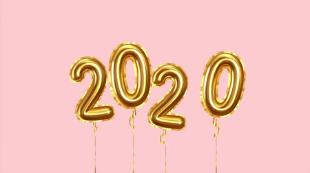 Happy New Year 2020 numbers golden air balloons
