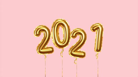 Happy New Year 2021 golden balloons.