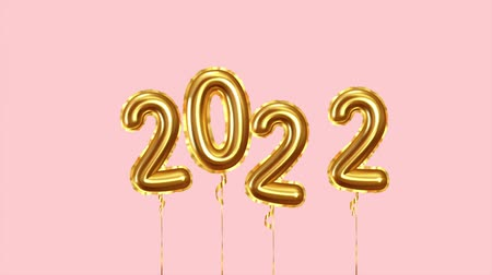 Happy New Year 2022 golden balloons