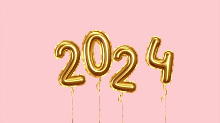 Baloon air numbers. 2024 Happy New Year golden balloons