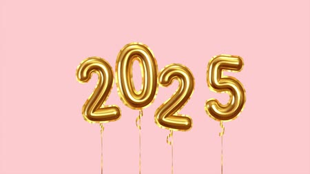 Baloon air numbers. 2025 Happy New Year golden balloons
