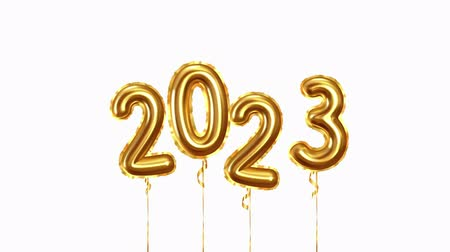 2023 New Year numbers golden balloons