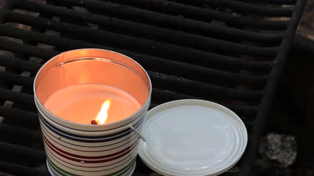 komar : citronella candle burning to repel mosquitos at a campsite Wideo