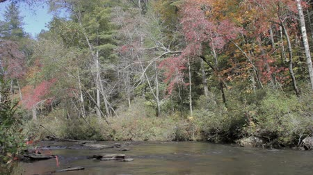 carolina : Scenic Chauga river in the South Carolina mountains on a windy autumn day