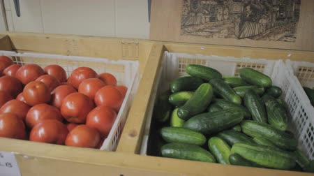 fresh tomatoes, cucumbers and green peppers at roadside produce market