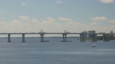 Traffic jam southbound on the Interstate 95 bridge spanning the St. Johns River near downtown Jacksonville, Florida