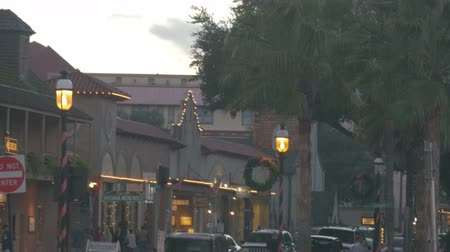 ST AUGUSTINE , FLORIDA – December 6:Tourists walking and  enjoying Christmas lights and decorations in downtown St. Augustine , December, 6, 2014 in St. Augustine, Florida.