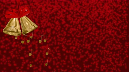 brass bells on red background